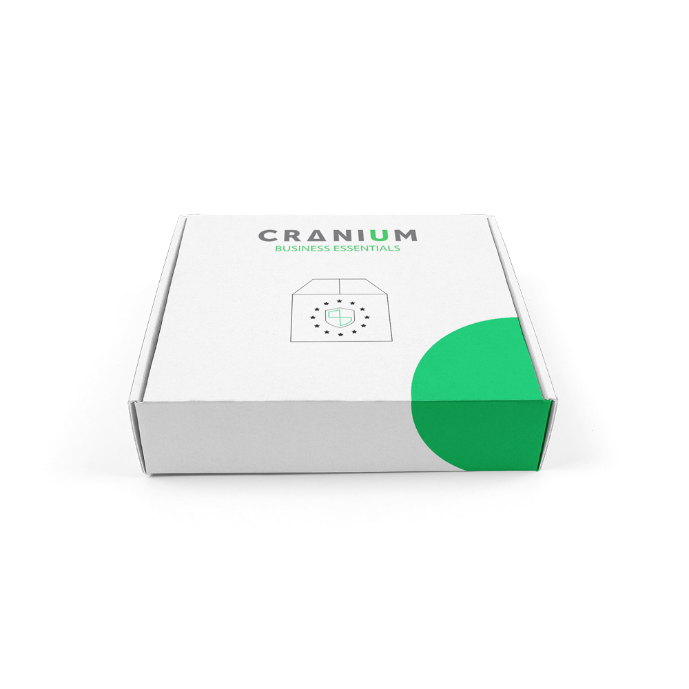 White carton box with CRANIUM business essentials logo