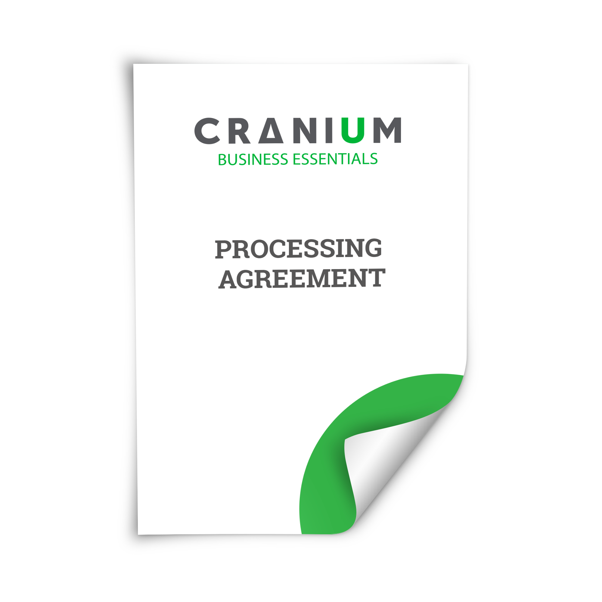 White and green CRANIUM Business Essentials Processing Agreement document