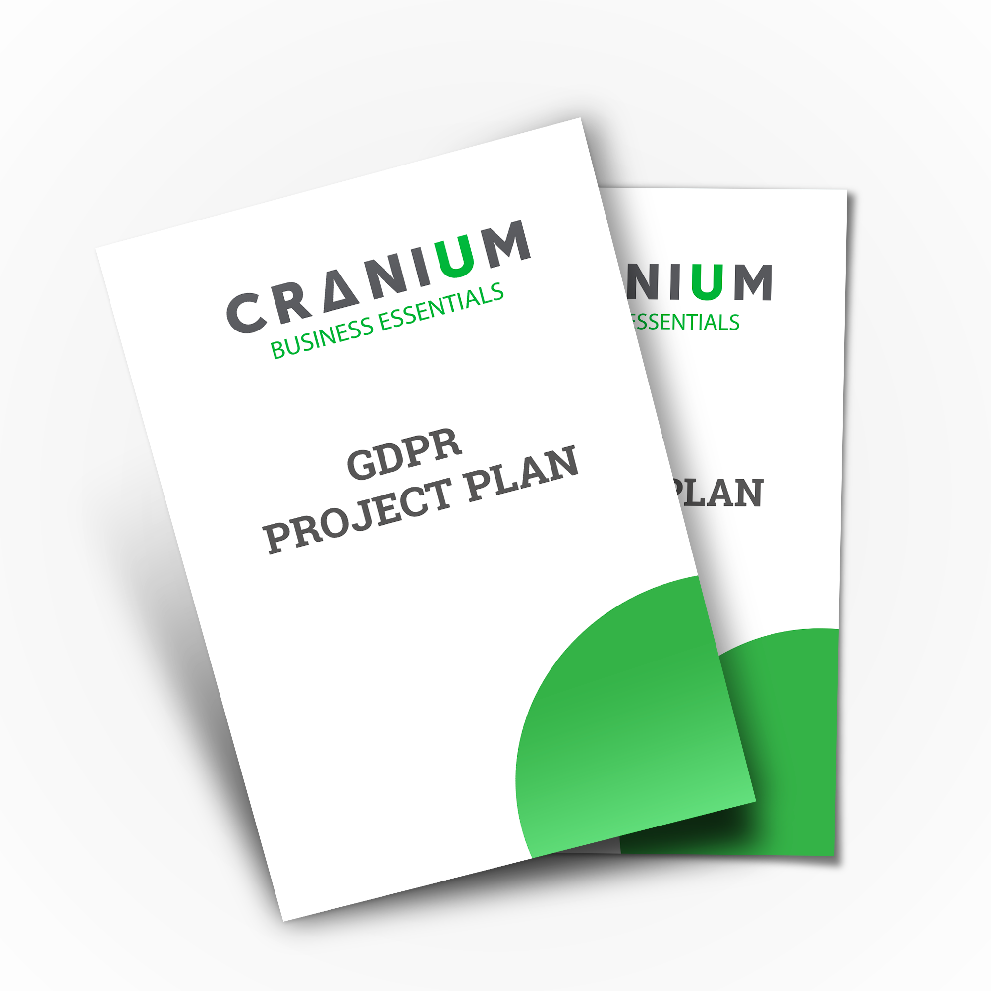 White and green CRANIUM Business Essentials GDPR Project Plan documents